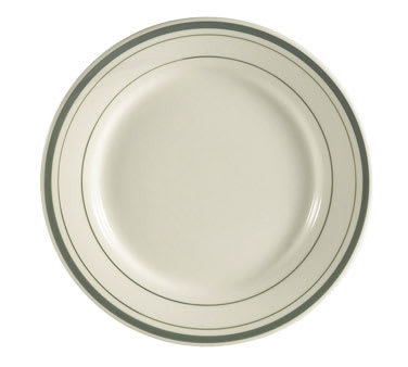 "CAC GS-9 9.75"" Greenbrier Dinner Plate - Plain, (3) Green Bands"