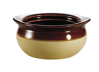 CAC OC12C 12 oz Accessories Onion Soup Crock - Ceramic, Cream/Brown