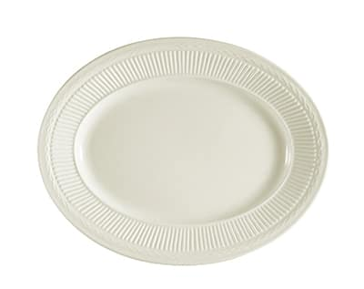 CAC RID-14 American White Rolled Edge Platter, Ridgemont, Oval