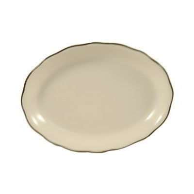 CAC SC-13B American White w/ Black Band Scallop Edge Platter, Seville, Oval