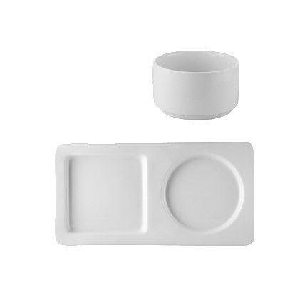 """CAC SNS-13 Soup Bowl & Platter Set - 28-oz Bowl & 12.75"""" x 6.5"""" Platter, Porcelain"""