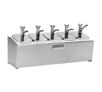 Cecilware 544M Pump Style Condiment Dispenser w/ (5) 2-oz/Stroke, Stainless