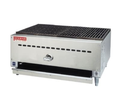 Cecilware CCB1812 NG Charbroiler, 12 in W x 18 in D, 15 in D Grill Area, (2) Burners, NG