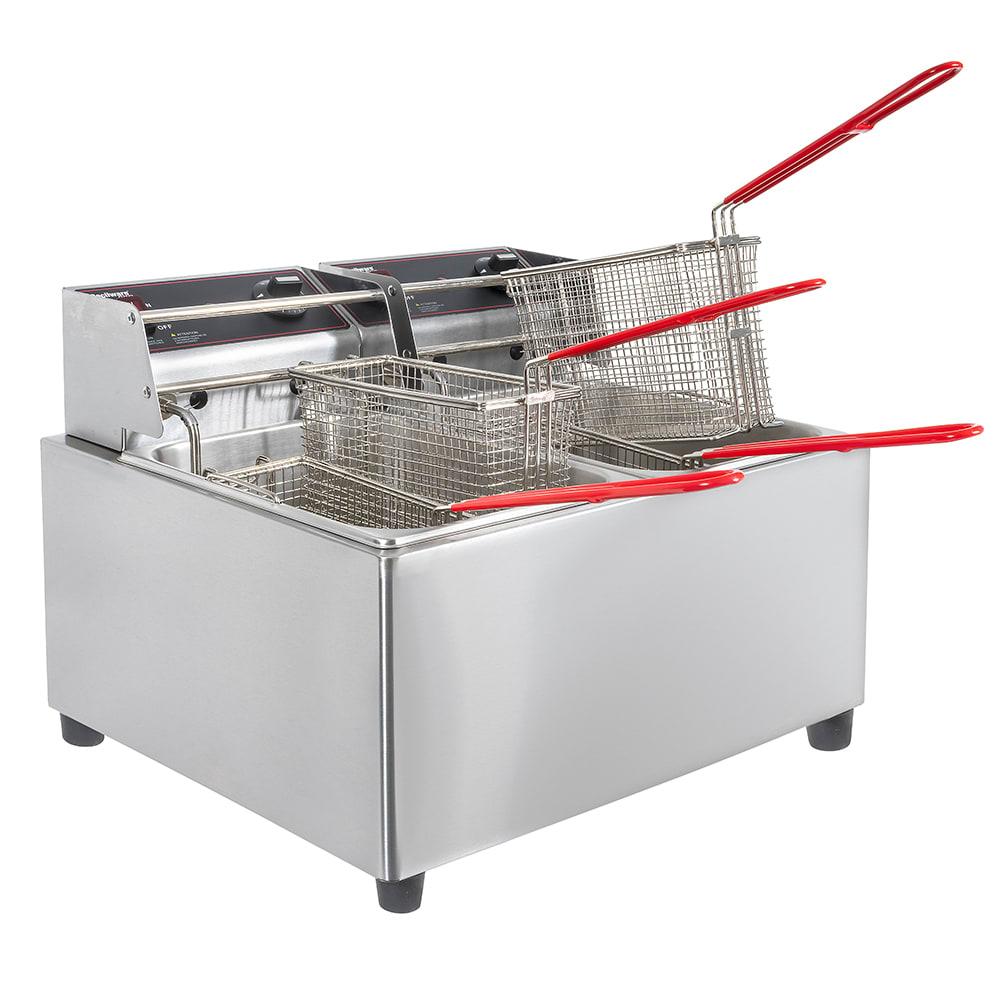 Cecilware EL2X15 Countertop Electric Fryer - (2) 15-lb Vat, 120v
