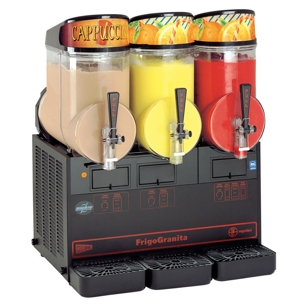 Cecilware MT3ULBL Triple Slush Machine w/ 2.5-gal/Bowl Capacity, Manual Fill, Black, 115v