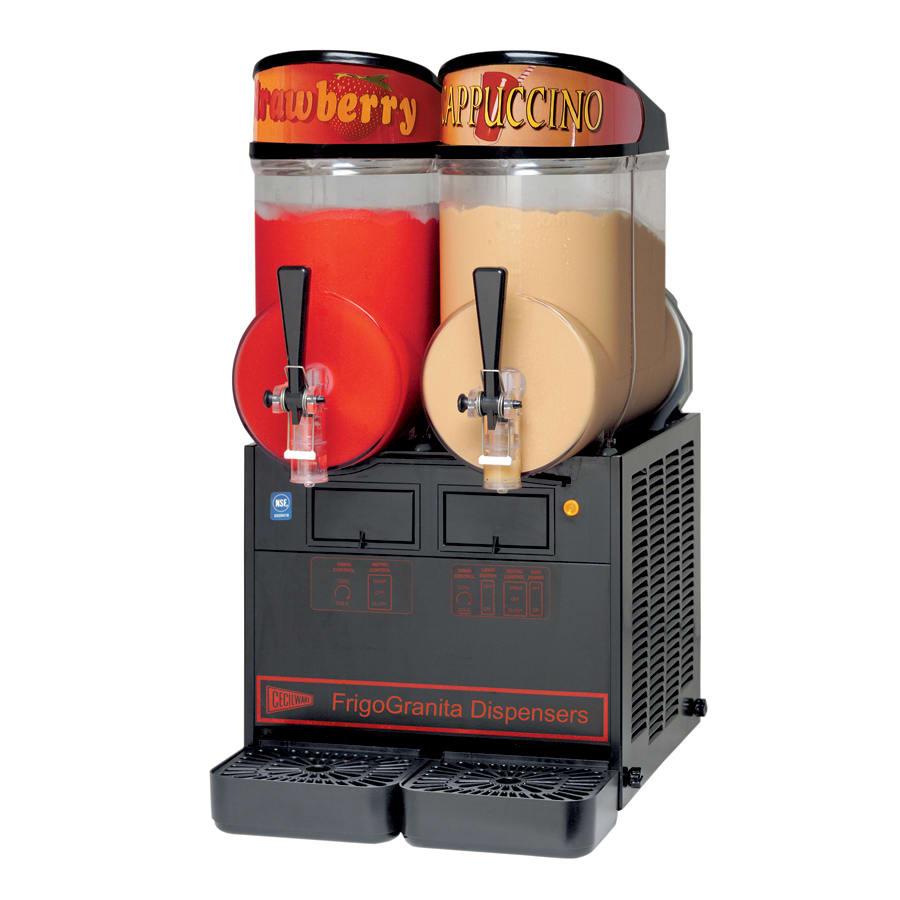 Cecilware NHT2ULBL Twin Slush Machine w/ 2.5-gal/Bowl Capacity, Manual Fill, Black, 115v