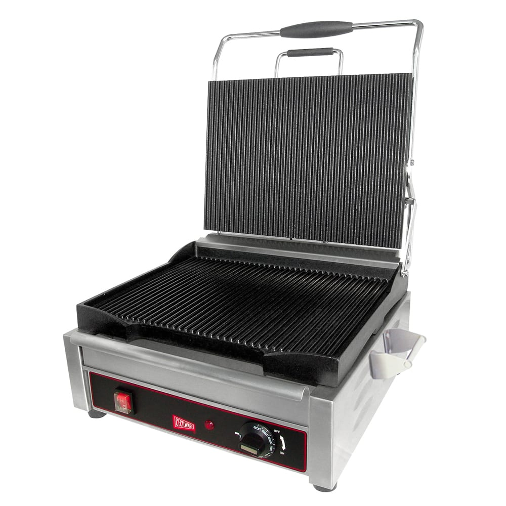 Cecilware SG1LG Commercial Panini Press w/ Cast Steel Grooved Plates, 120v