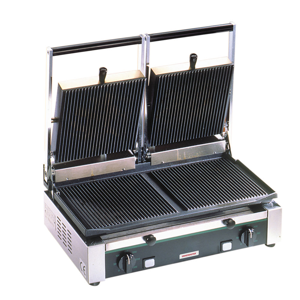 Cecilware TSG2G Double Commercial Panini Press w/ Cast Iron Grooved Plates, 240v/1ph