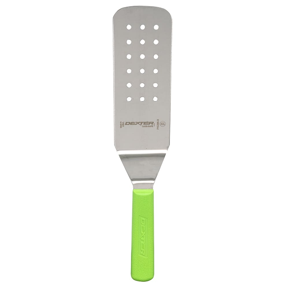 "Dexter Russell PS286-8G-PCP 8""x 3"" Sani-Safe® Perforated Turner w/ Polypropylene Green Handle, Stainless Steel"