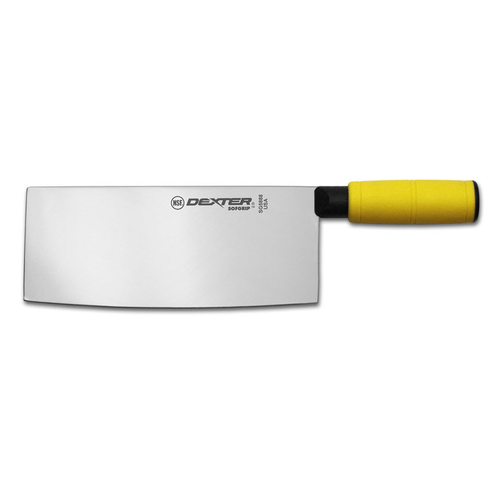 "Dexter Russell SG5888Y-PCP 8"" Chinese Chef's Knife w/ Soft Yellow Rubber Handle, Carbon Steel"