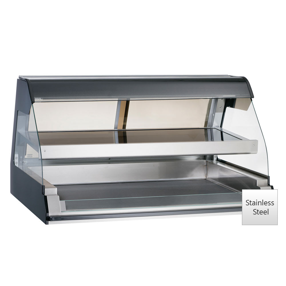 "Alto Shaam ED2-48/2S-SS 2081 48"" Self-Service Countertop Heated Display Case w/ Curved Glass - (2) Levels, 208-240v/1ph"