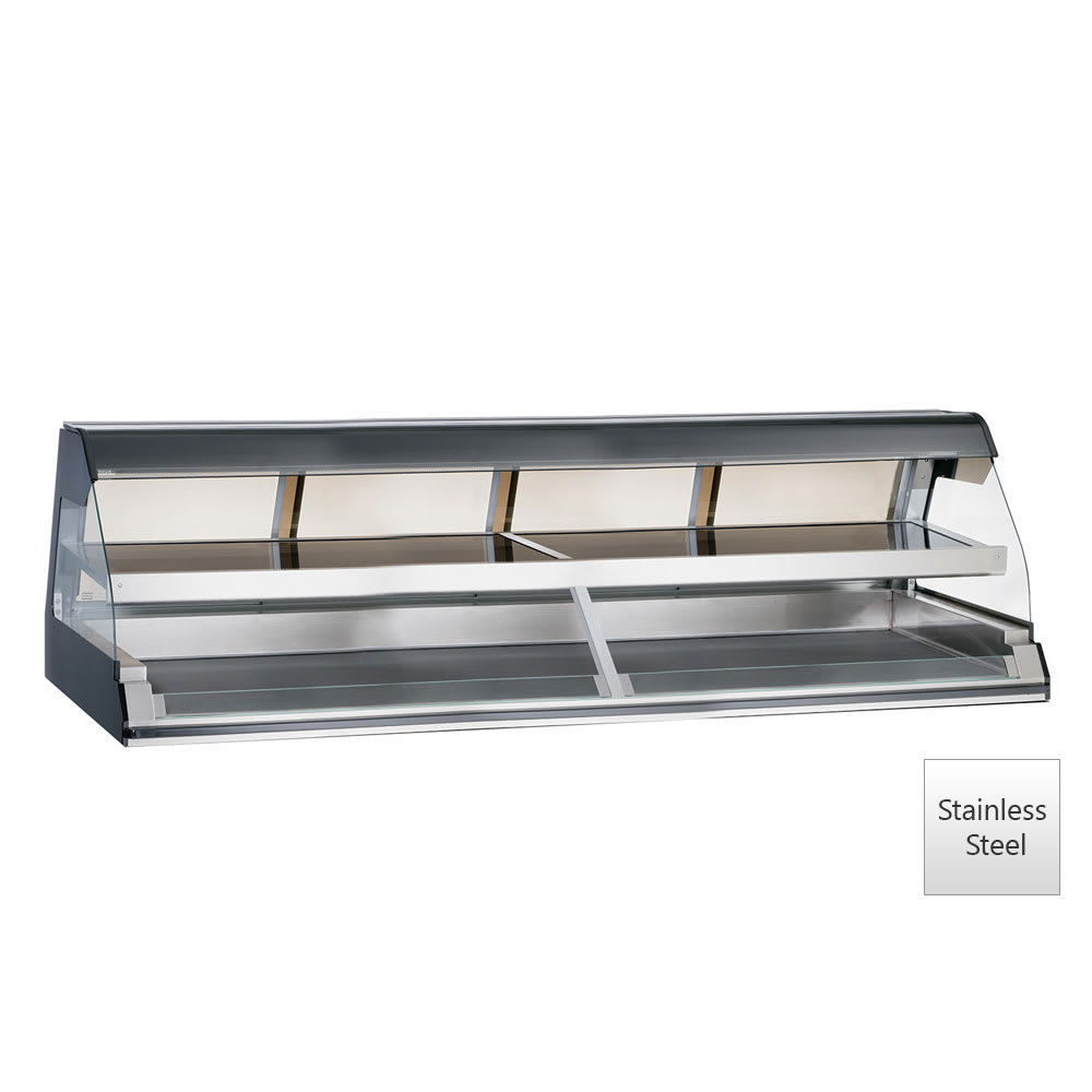 "Alto Shaam ED2-96/2S-SS 2081 96"" Self-Service Countertop Heated Display Case w/ Curved Glass - (2) Levels, 208 240v/1ph"