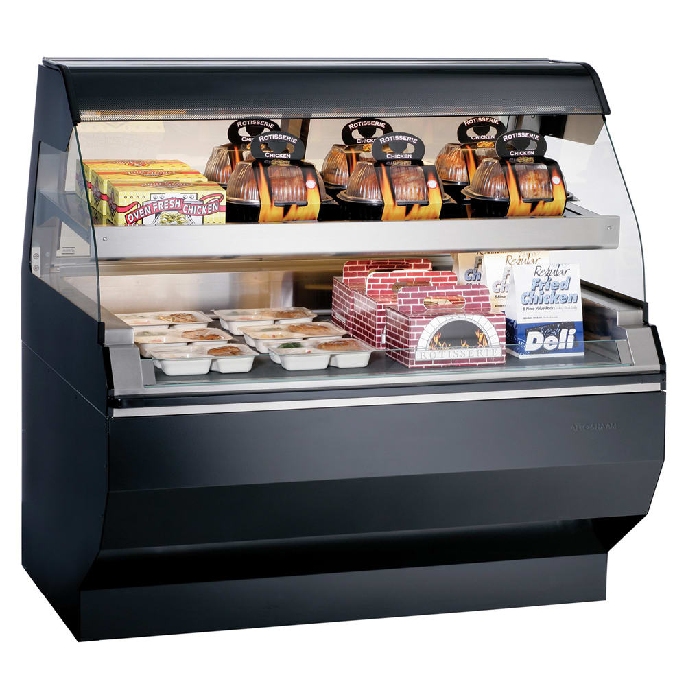 """Alto Shaam ED2SYS-48/2S-BLK 48"""" Display Case w/ 2 Tiers & Curved Glass, Sliding Rear Door, Black"""