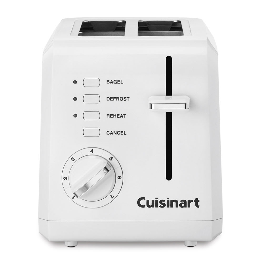 """Waring CPT-122WH Cuisinart® 2-Slice Toaster w/ 1.5"""" Slots - (3) Controls & 7-Setting Dial, White/Stainless"""