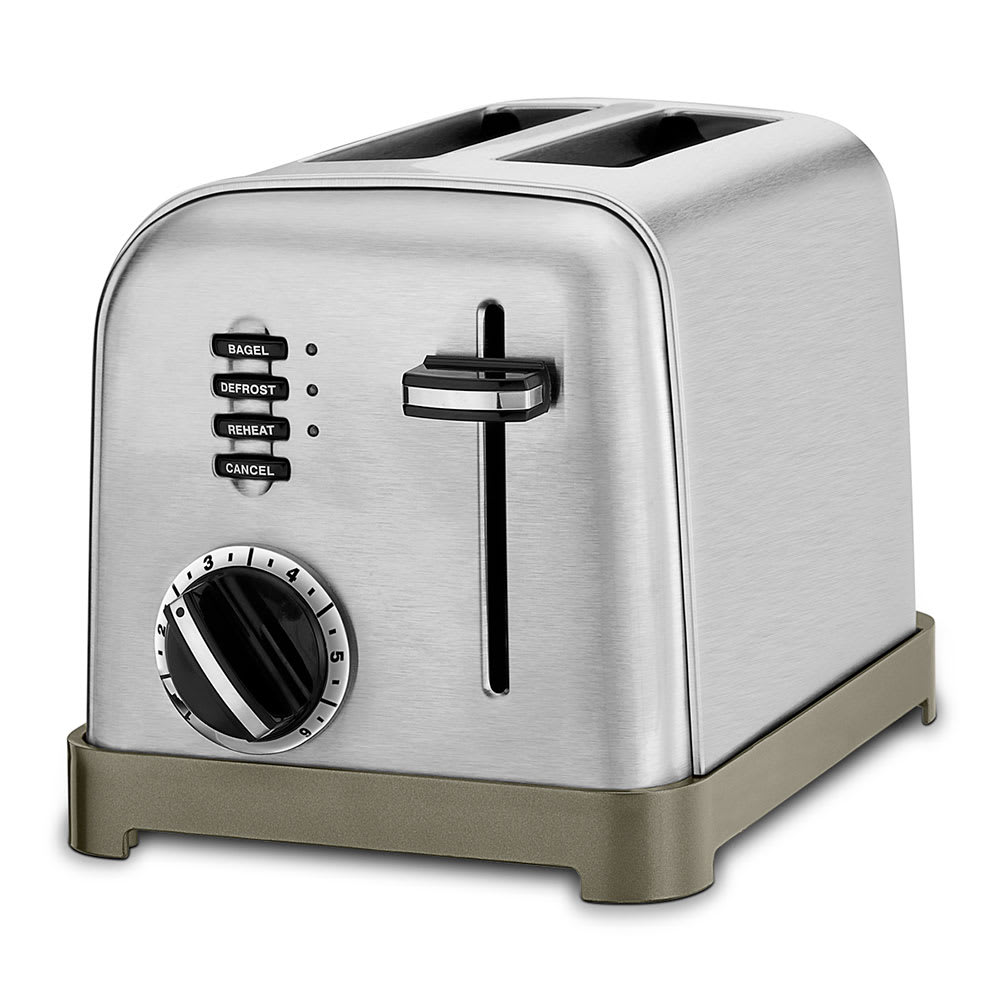 "Waring CPT-160WH Cuisinart® 2-Slice Toaster w/ 1.5"" Slots - (3) Controls & 7-Setting Dial, Stainless/Black"