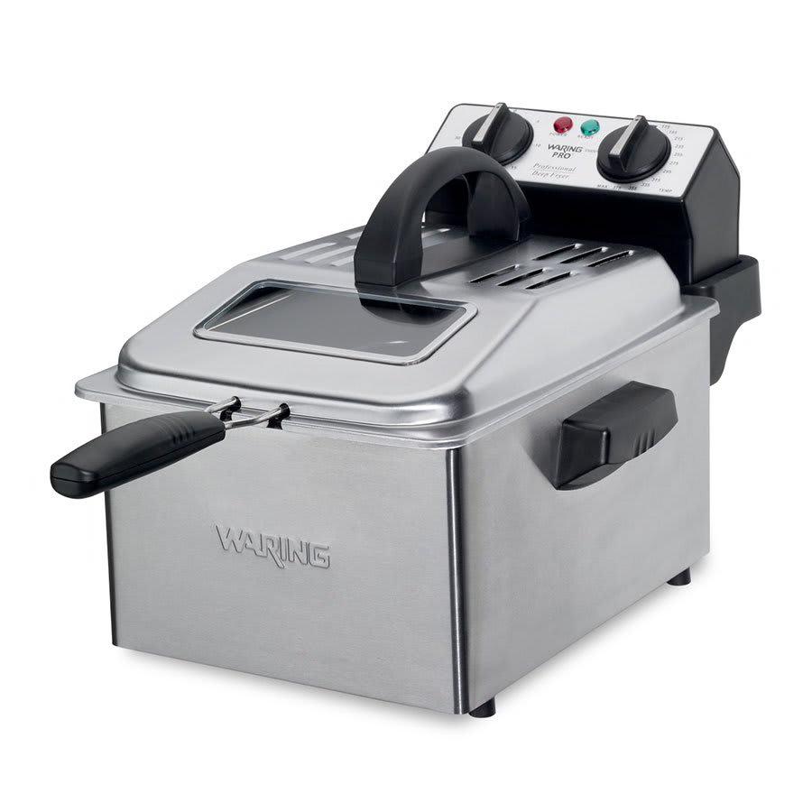 Waring DF250B 1-Gallon Deep Fryer w/ Mesh Basket & Timer, Brushed Stainless