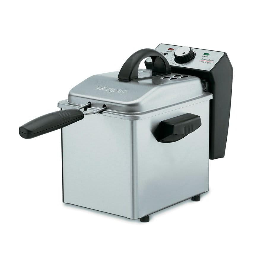 Waring DF55 2-qt Mini Deep Fryer w/ Mesh Basket, Brushed Stainless/Black