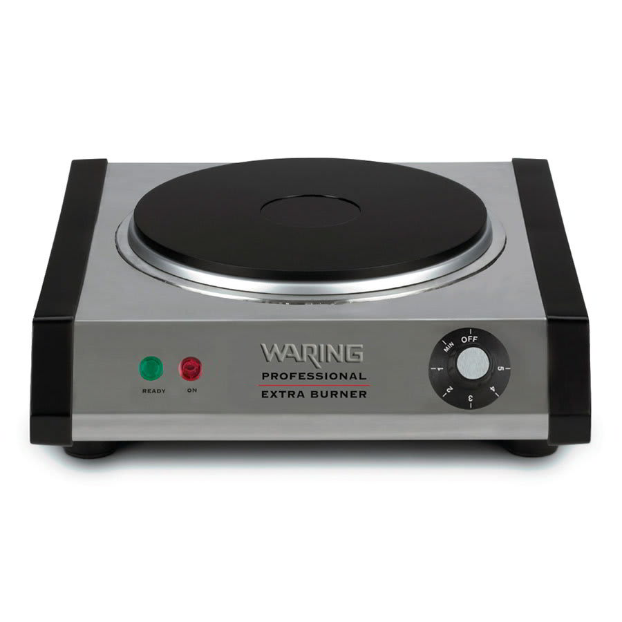 Waring SB30 Portable Single Burner w/ Cast Iron Plate, Brushed Stainless