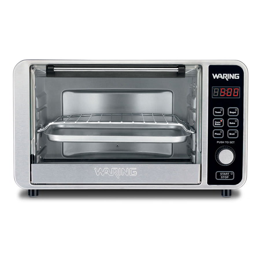 "Waring TCO650 Convection Oven w/ 60-min Timer & LCD Display, Holds 6-Slices or 12"" Pizza"