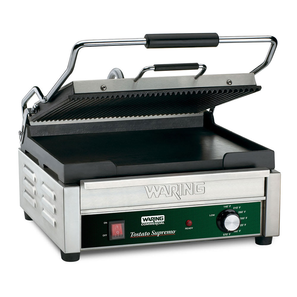Waring WDG250 Double Commercial Panini Press w/ Cast Iron Grooved Top/Smooth Bottom Plates, 120v