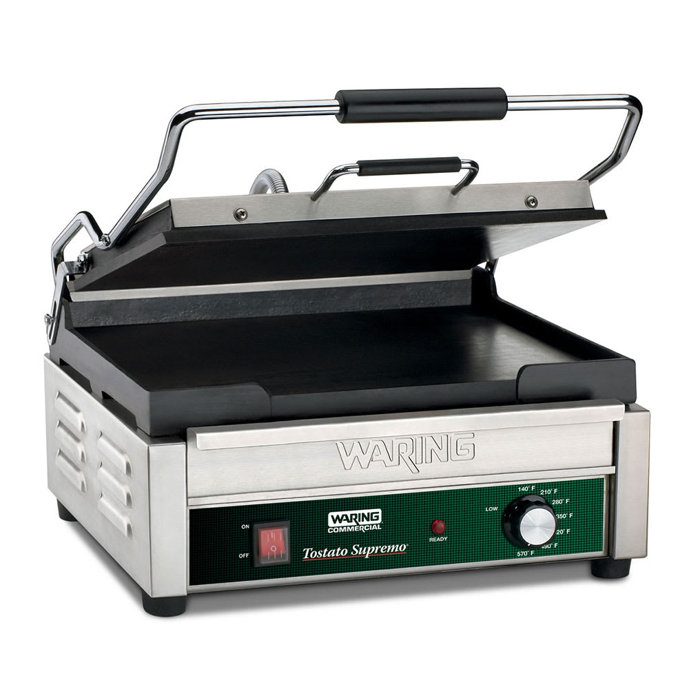 Waring WFG250 Commercial Panini Press w/ Cast Iron Smooth Plates, 120v