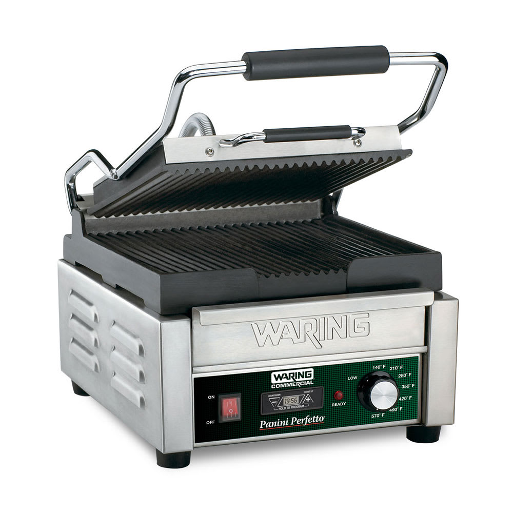 Waring WPG150T Commercial Panini Press w/ Cast Iron Grooved Plates, 120v