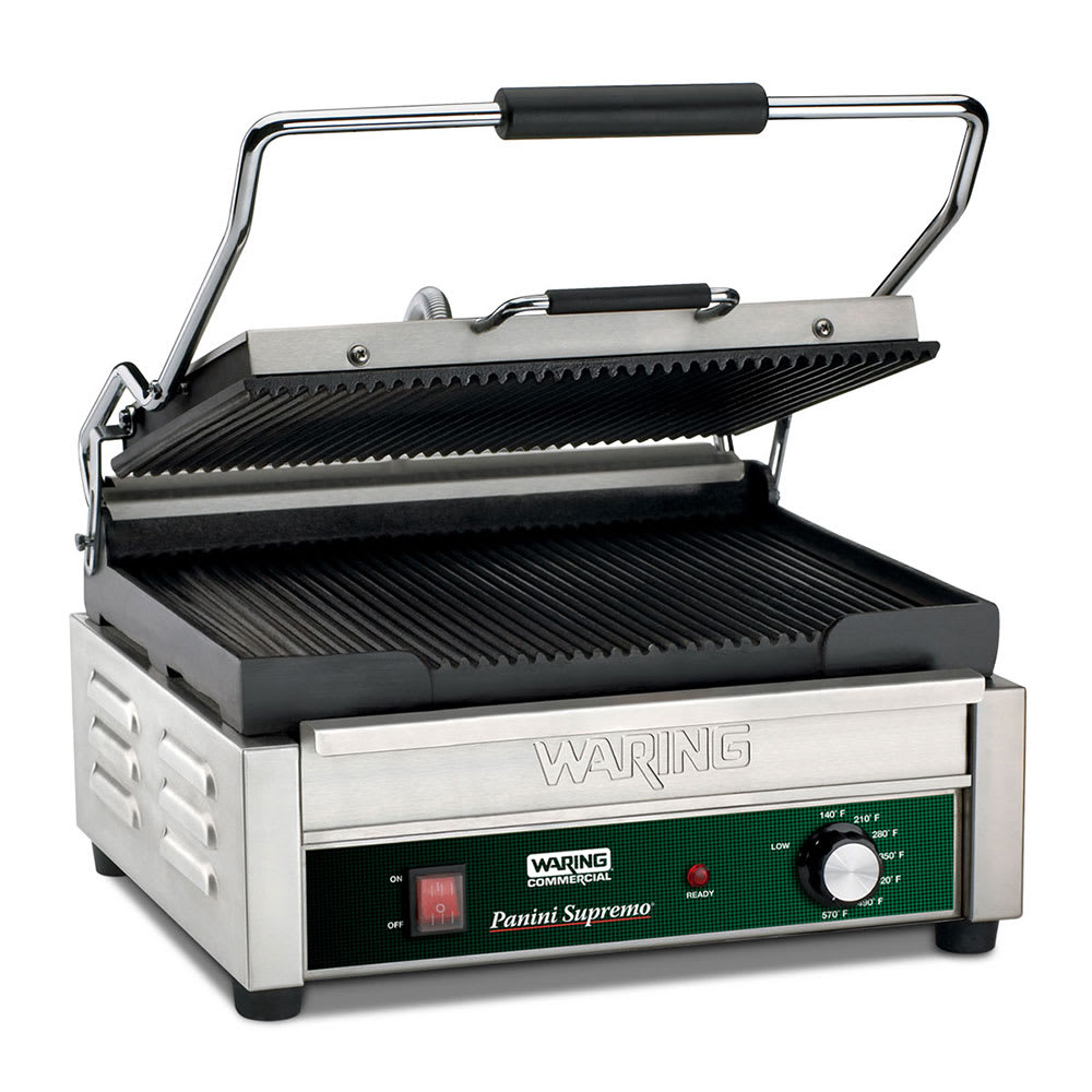 Waring WPG250B Commercial Panini Press w/ Cast Iron Grooved Plates, 208v/1ph