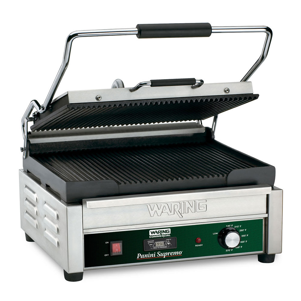 Waring WPG250T Commercial Panini Press w/ Cast Iron Grooved Plates, 120v