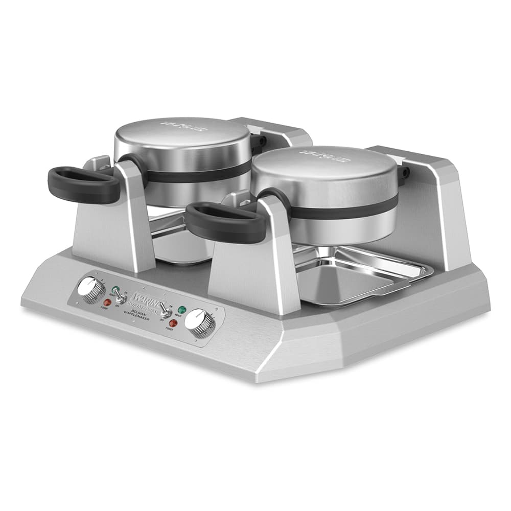 Waring WW250X Double Belgian Waffle Maker w/ LED Indicator & Non-Stick Plates, 120v
