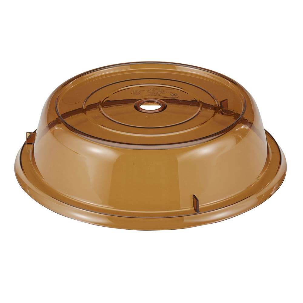 """Cambro 1005CW153 10 9/16"""" Round Camwear Plate Cover - Amber"""