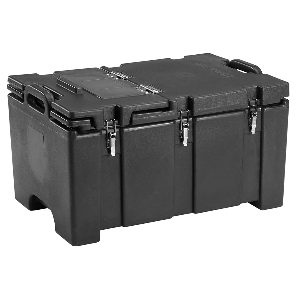 "Cambro 100MPCHL110 Camcarrier® Insulated Food Pan Carrier - Hinged Lid, 18x26.75x15"" Black"