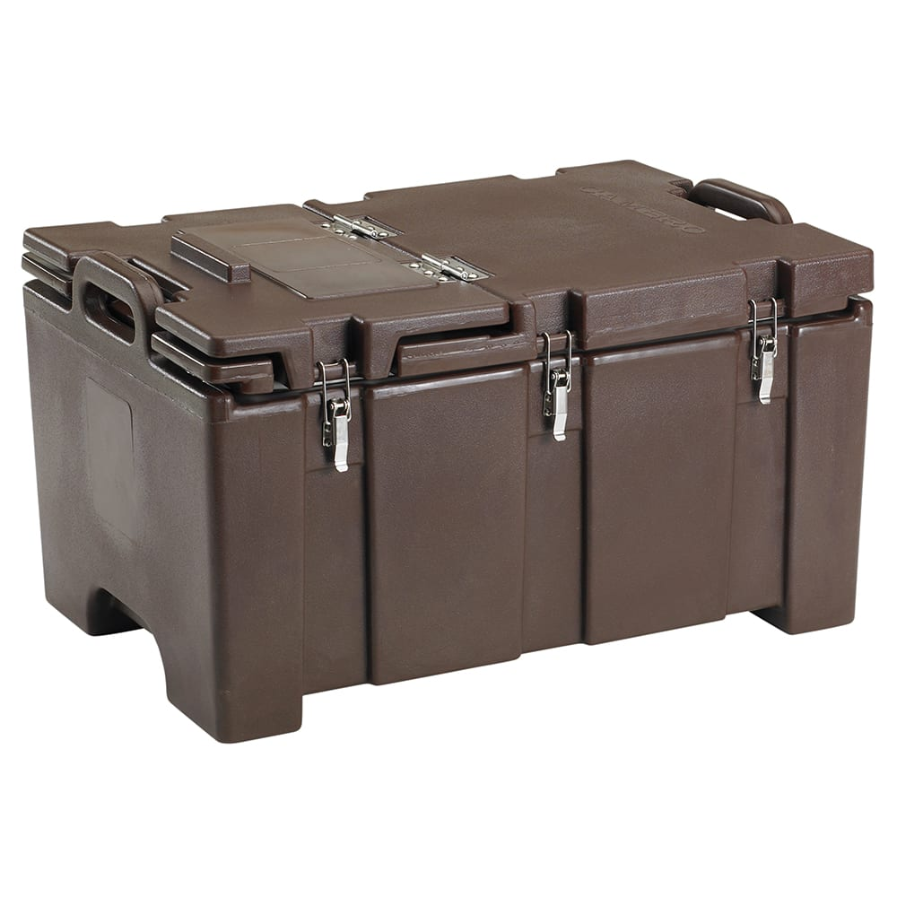 Cambro 100MPCHL131 Camcarriers® Insulated Food Carrier - 40 qt w/ (1) Pan Capacity, Hinged Lid, Brown