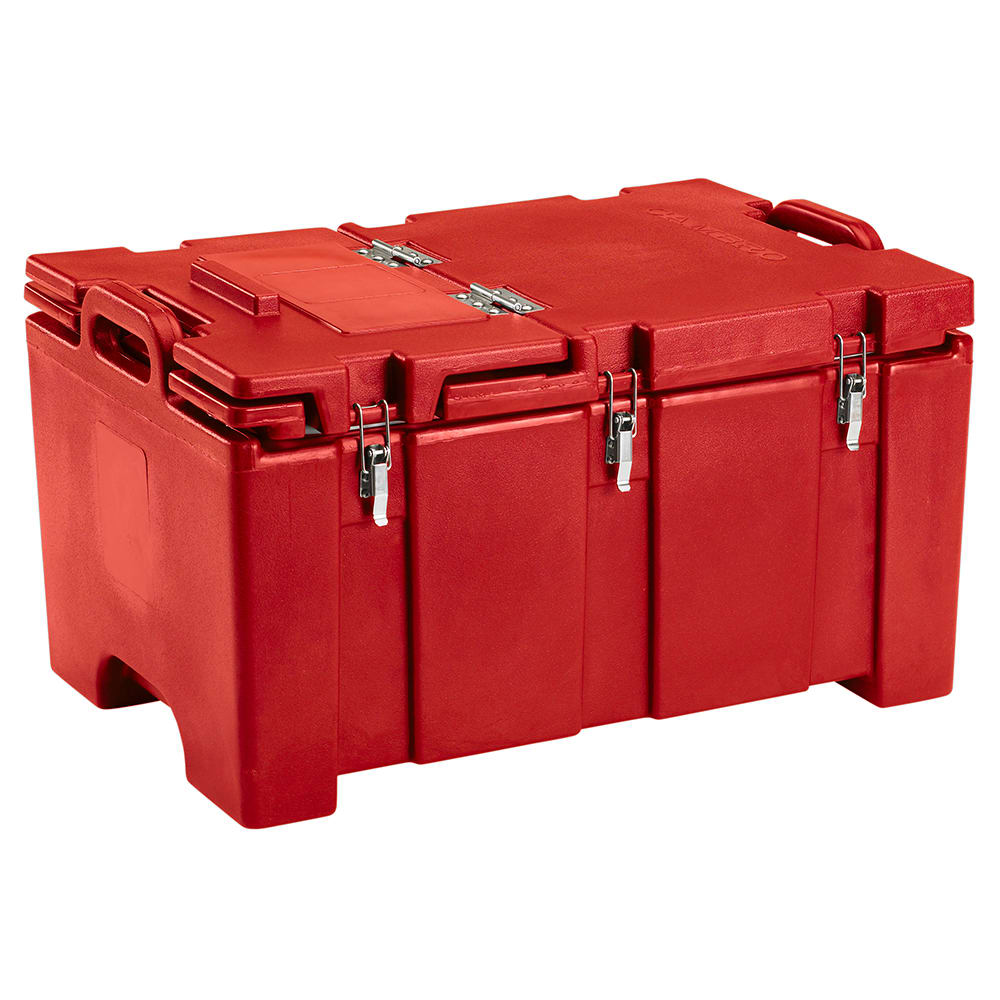"Cambro 100MPCHL158 Camcarrier® Insulated Food Pan Carrier - Hinged Lid, 18x26.75x15"" Hot Red"