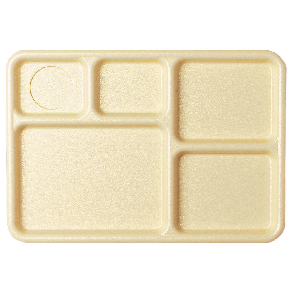 "Cambro 10145CW133 Camwear Rectangular Tray - 5 Compartment, 10x14 1/2"" Beige"