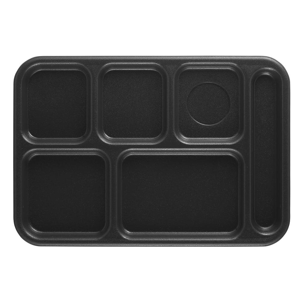 "Cambro 10146CW110 Rectangular Camwear School Tray - 6 Compartment, 10x14 1/2"" Black"