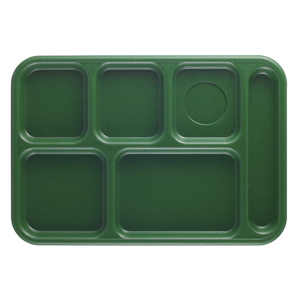 "Cambro 10146CW119 Rectangular Camwear School Tray - 6 Compartment, 10x14 1/2"" Sherwood Green"