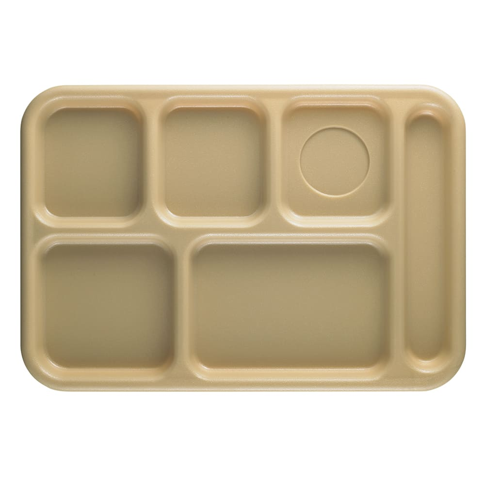 "Cambro 10146CW133 Rectangular Camwear School Tray - 6-Compartment, 10x14-1/2"" Beige"
