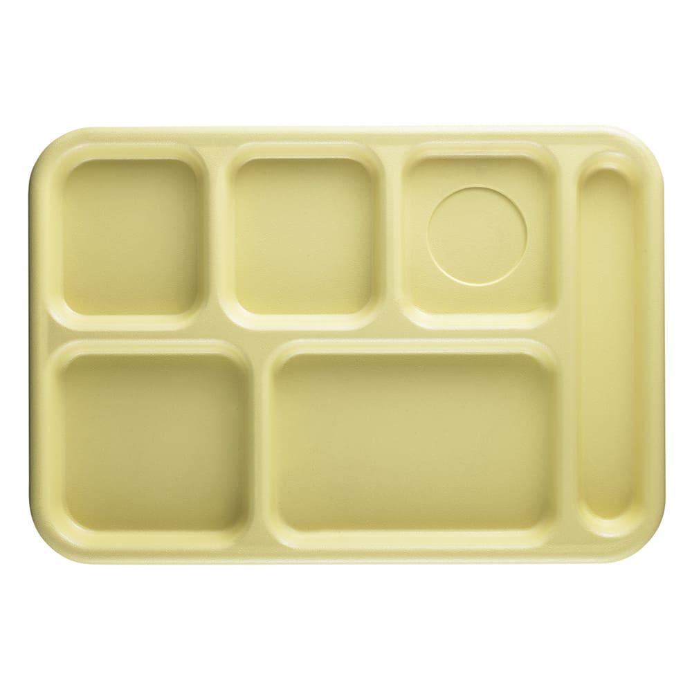 "Cambro 10146CW145 Rectangular Camwear School Tray - 6 Compartment, 10x14 1/2"" Yellow"