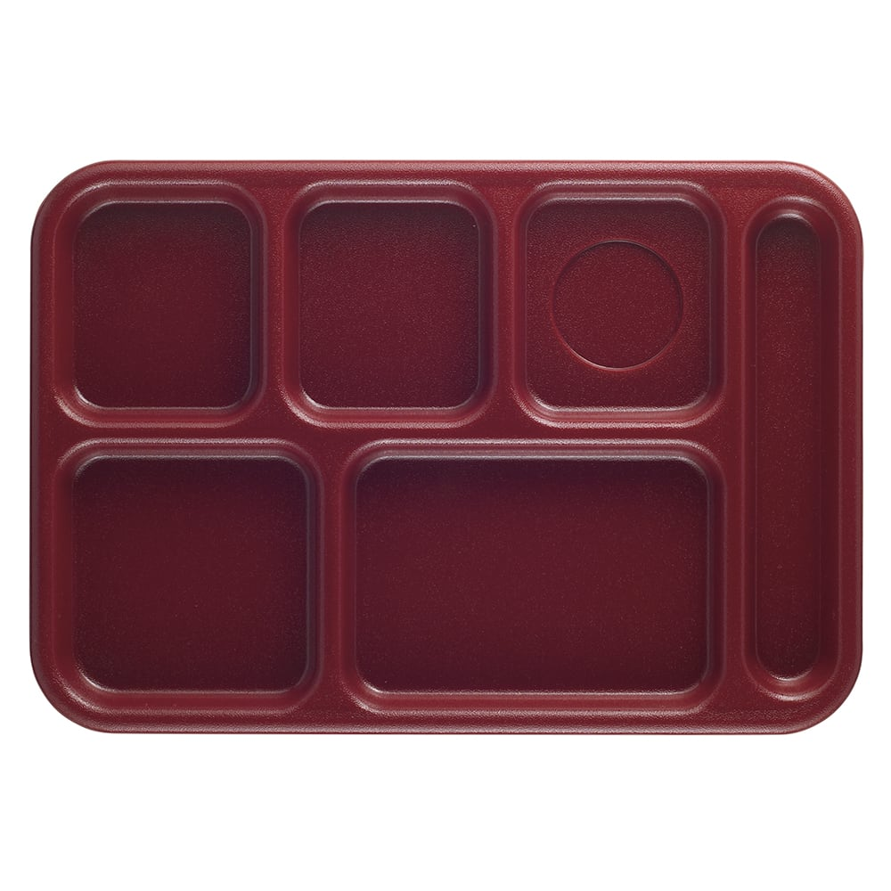 "Cambro 10146CW416 Rectangular Camwear School Tray - 6 Compartment, 10x14 1/2"" Cranberry"