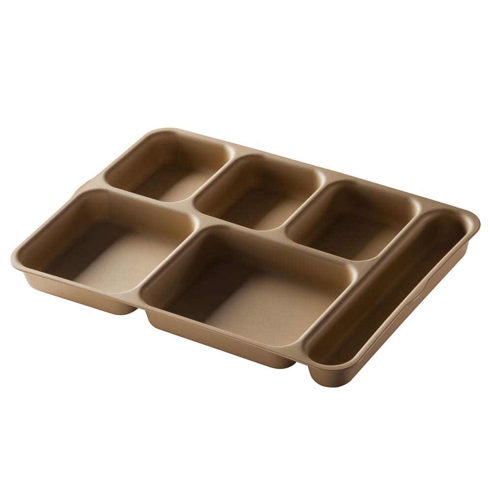 "Cambro 10146DCP161 Rectangular Camwear Separator Tray - 6 Compartment, 10x14 5/32"" Tan"