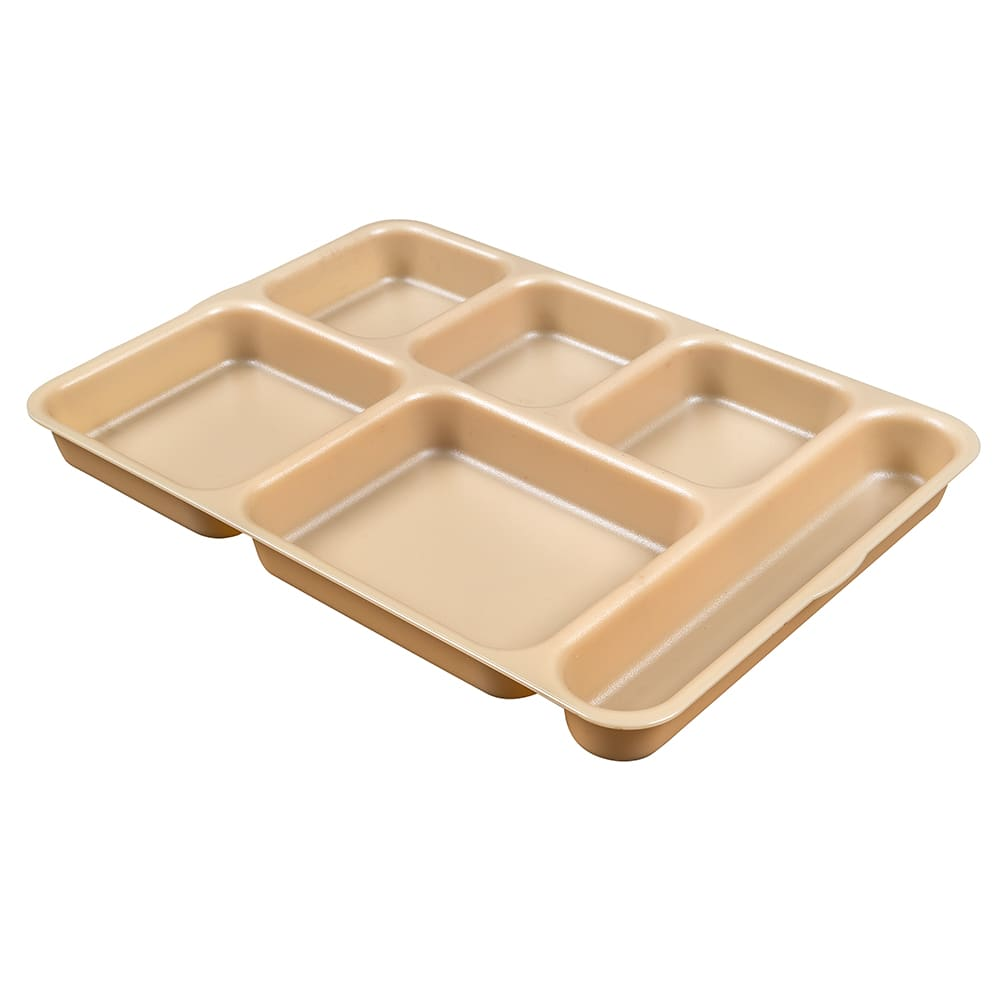"Cambro 10146DCW133 Rectangular Camwear Separator Tray - 6 Compartment, 10x14 5/32"" Beige"