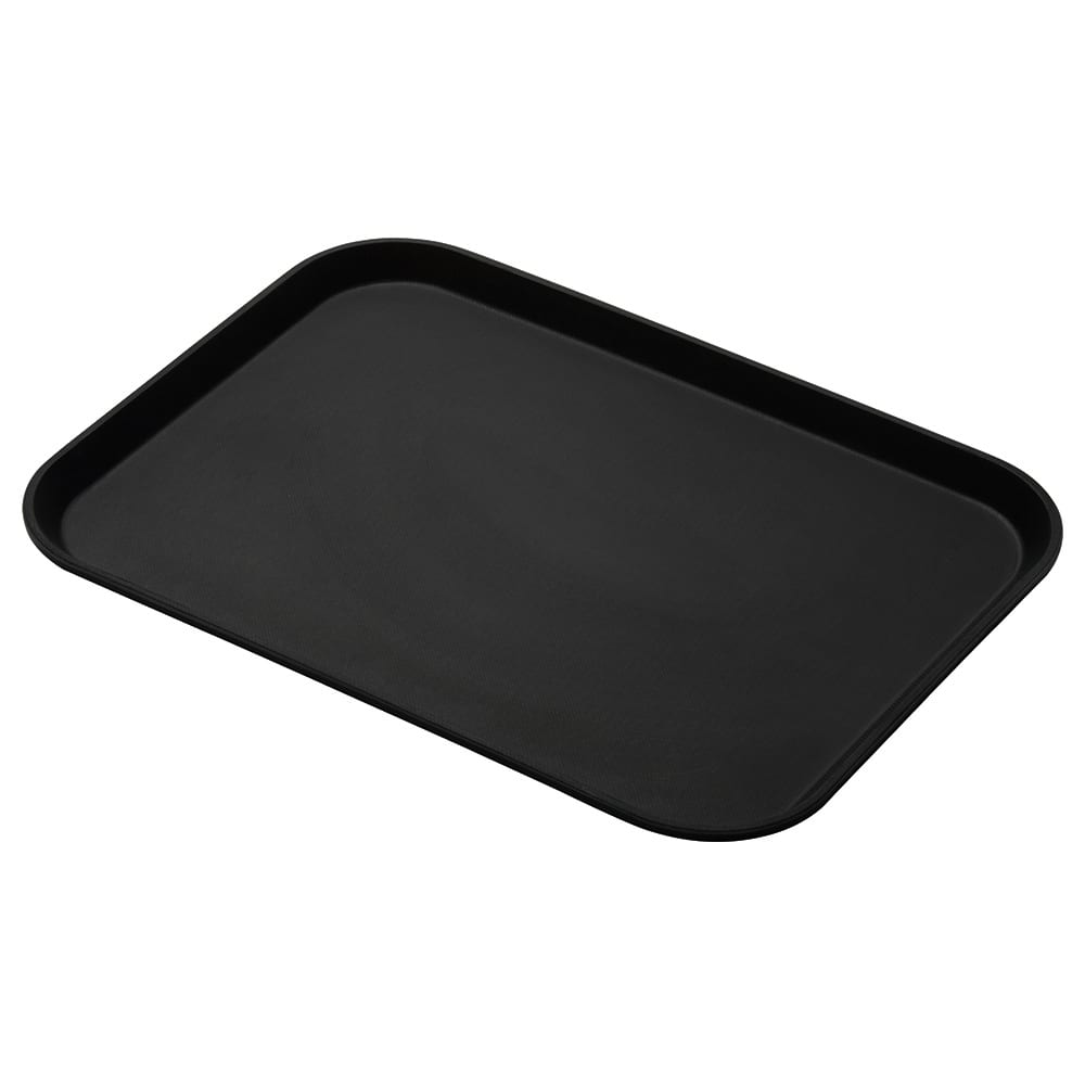 "Cambro 1014CT110 Rectangular Camtread Serving Tray - 10-5/8x13-3/4"" Black Satin"