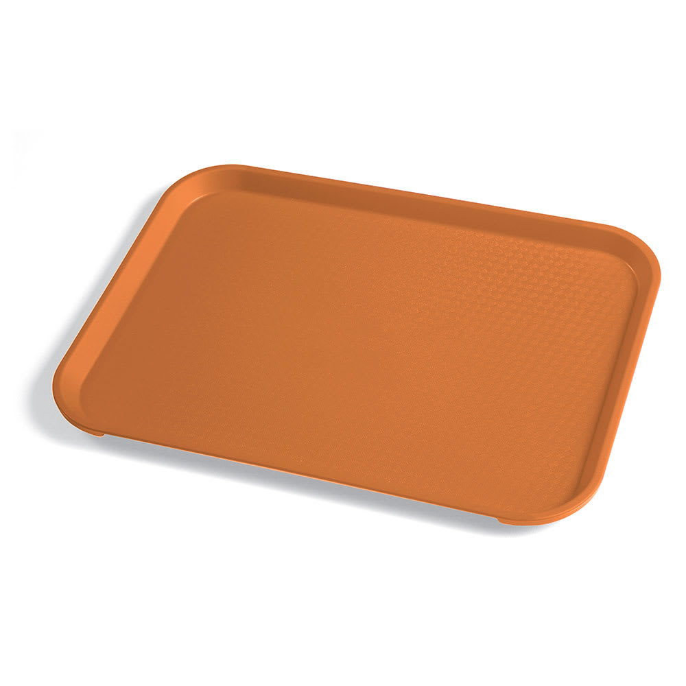 "Cambro 1014FF166 Plastic Fast Food Tray - 13.5""L x 10.4""W, Orange"