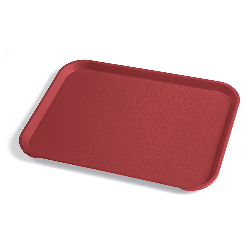 """Cambro 1014FF416 Rectangular Fast Food Tray - 10 7/16x13 9/16"""" Cranberry"""