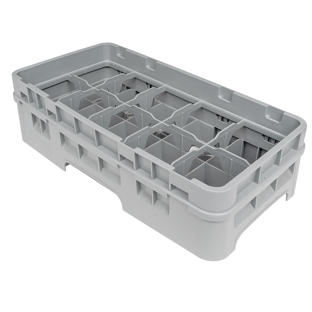 Cambro 10HC414151 Camrack Cup Rack with Extender - 10 Compartment, Half-Size, Soft Gray