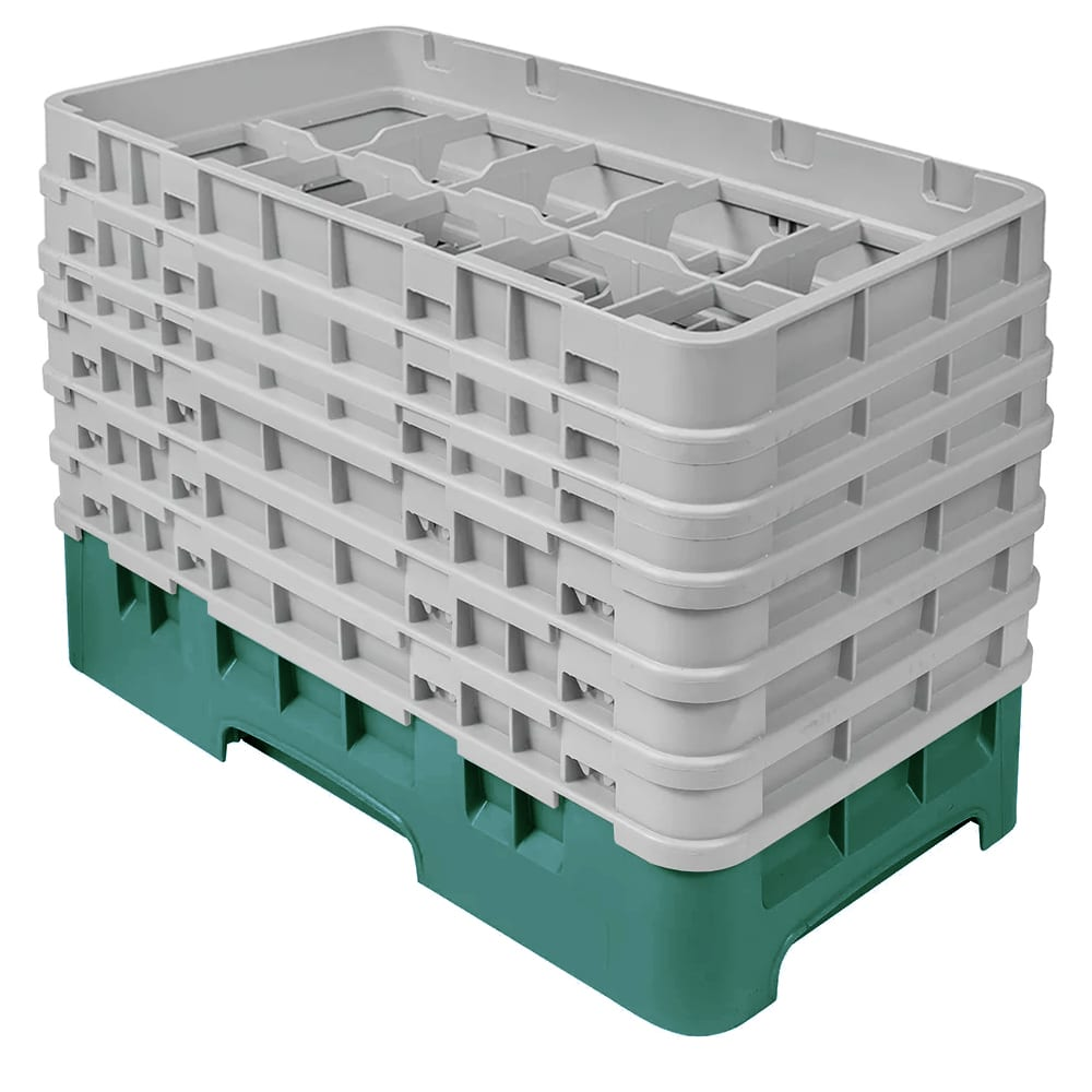 Cambro 10HS1114119 Camrack Glass Rack - (6)Extenders, 10 Compartments, Sherwood Green