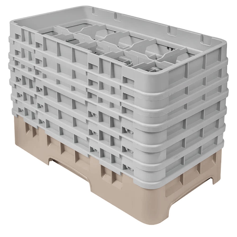 Cambro 10HS1114184 Camrack Glass Rack - (6)Extenders, 10 Compartments, Beige