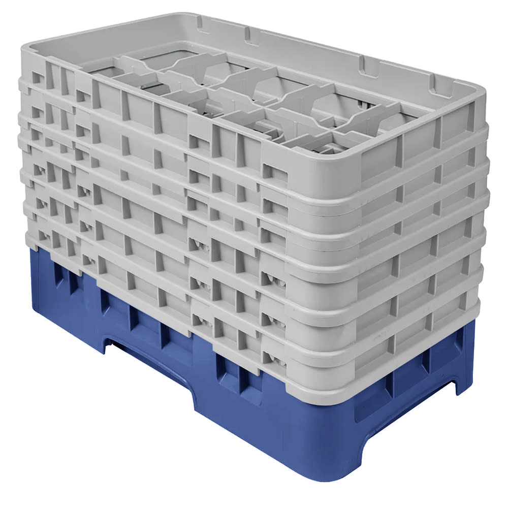 Cambro 10HS1114186 Camrack Glass Rack - (6)Extenders, 10 Compartments, Navy Blue