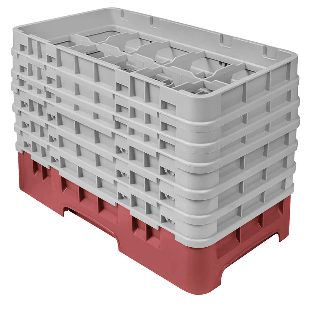 Cambro 10HS1114416 Camrack Glass Rack - (6)Extenders, 10 Compartments, Cranberry