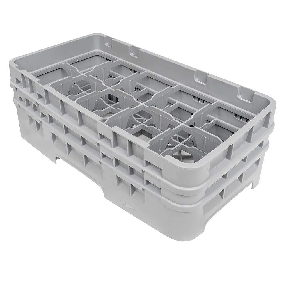 Cambro 10HS434151 Camrack Glass Rack - (2)Extenders, 10 Compartments, Soft Gray
